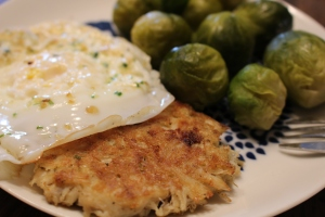 Crab Cakes, egg, and brussels sprouts breakfast January 21st 2014